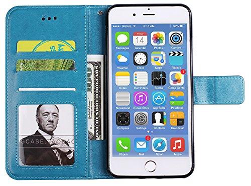 """Iphone 7 Coque silicone, Coque Iphone 7 silicone, Iphone 7 Protection, Nnopbeclik® Mode Fine Folio Wallet/Portefeuille en Bonne Qualité PU Cuir Housse (4.7 Pouce) """"Datura"""" fleur de Gaufrage Style Moti bleu"""