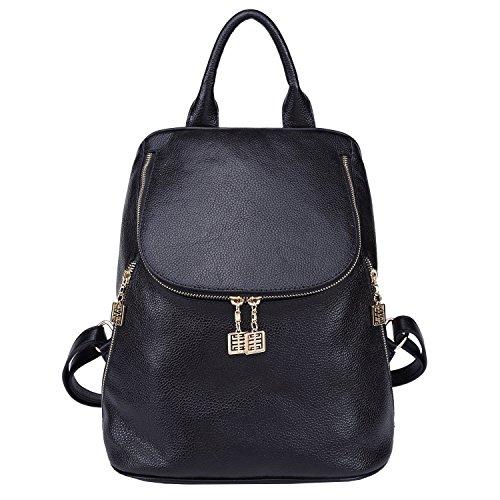BOYATU Mode Leder Rucksack Casual Frauen Schultertasche Pack Handtasche Poke Tote (schwarz) (Sattel Sling Tasche)
