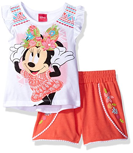 Disney Little Girls' 2 Piece Minnie Mouse Pom Short Set, Orange, - Mädchen Shorts Pom Pom
