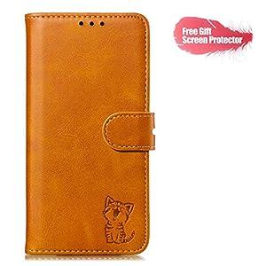 Fatcatparadise Kompatibel mit Huawei Nova 5 Hülle + Displayschutz, Prägung Muster Schutzhülle PU Leder Handyhülle Wallet Case Flip Hülle Brieftasche Ledertasche (Gelb)
