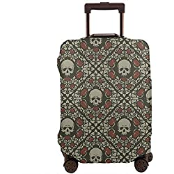 Funda para equipaje de viaje con diseño de calaveras y rosas para maleta de 26 a 28 pulgadas