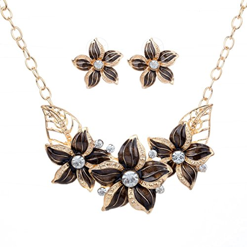 yazilind-vogue-gold-plated-brown-crystal-enamel-flower-bib-collar-necklace-earrings-jewelry-set