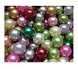 Sepkina Set 100 hochwertige nachgebildete lose Perlen Perle Dekoperlen Kunststoffperlen Streudeko Tischdeko ohne Loch 8mm bunt Mix (8mm, S-DPL-8mm-100-Mix)