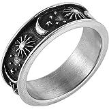 خاتم بتصميم قمر ونجوم وشمس بتصميم بوهيمي دائري من الستانلس ستيل للنساء الرجال من اتش زد مان