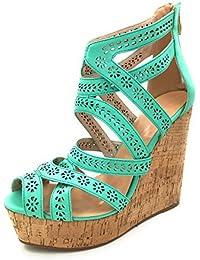 Cuckoo Womens Wedge High Heel Open Toe Sandalen Strappy Criss Kreuz Schuhe Holz Plattform Pumps Schuhe