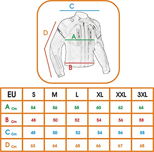 Giacca-Tessuto-Moto-Protezioni-CE-Manica-Staccabile-Gilet-Termico-Blu-L
