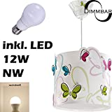 LED Lampe Kinderzimmer Decke Pendelleuchte Schmetterling 62142 Dimmbar neutralweiß 1000lm Mädchen