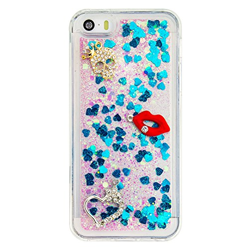 Case iPhone 5 / 5S / SE 3D Bling Diamant Design Coque, Sunroyal Glitter Bling Bling Dual Layer en Soft TPU Silicone Housse Transparent Clair Back Cover Strass Cristal Protecteur Étui Paillettes Flotta A-11