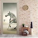 Türaufkleber durch Wandbild Pferd läuft durch Aufkleber Tapete 3D Wandbild Druck Wandaufkleber Deko Foto durch Selbstklebende Wrap 77X200Cm