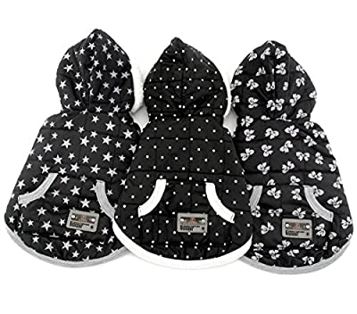 SELMAI Pet Clothes for Puppy Cat Small Dog Fleece Lined Winter Vest Coat Jacket Hooded Costume Clothing Black