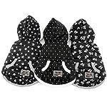 SELMAI Dots Print Small Dog Vest Winter Coat Puppy Clothes Pet Cat Hoodies Jacket Fleece Cashmere Black S 3
