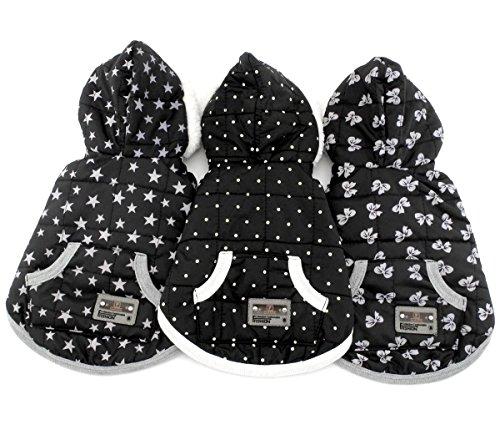 SELMAI Dots Print Small Dog Vest Winter Coat Puppy Clothes Pet Cat Hoodies Jacket Fleece Cashmere Black S 1