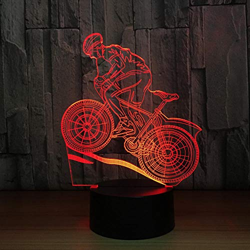 3D Illusion Nachtlampe Mountainbiking 7 Farben ändern LED Schreibtisch Tisch Nachtlicht für Kinder Familie Dekoration Valentinstag beste Geschenk,Berührungsschalter