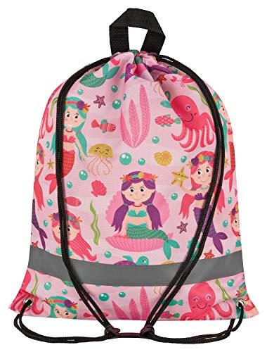 Aminata Kids - Kinder-Turnbeutel Fuer Maedchen mit Meerjungfrau-en Mermaid-s Sport-Tasche-n Gym-Bag Sport-Beutel-Tasche Rosa