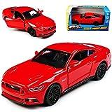 alles-meine.de GmbH Ford Mustang VI Coupe Rot Ab 2014 mit Rückzugsmotor ca 1/43 1/36-1/46 Maisto Modell Auto mit individiuellem Wunschkennzeichen