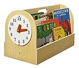 Tidy Books ® - Die originale Kinder-Bücherbox - Aufbewahrung für Kinderbücher - Tragbares Bücherregal aus Holz für Kinder - 34 x 54 x 28 cm (Natur Retro Holzuhr)