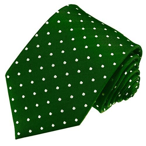 LORENZO CANA - Marken Krawatte aus 100% Seide , Luxuskrawatte Gruen Punkte Weiss - 84573