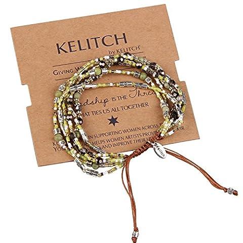 KELITCH Cristal Vert Agate Perles de Rocaille Cluster Multi-strand Bracelet Corde - Jaune