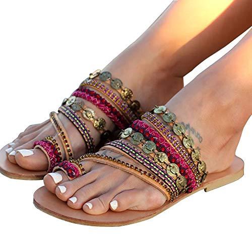 DoraTasia Frauen Sommer B?hmen Flache Sandalen Slipper Gladiator Sandalen Flip Flops Rom PU Handgemachte Strass Clip Toe Strand Schuhe