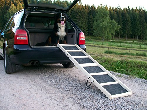 "Easy-Hopper Hunderampe / Hundetreppe / Einstieghilfe \""Komfort Natur\"" mit Rasenbelag"
