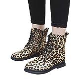 SUCES Mode Frauen Kurz Stiefel Flache Beiläufige Modisch Leopard Stiefel Damen Runde Kappe Schuhe Herbst Winter Martain Boot Fleece Warm Schneestiefel (Schwarz,40)