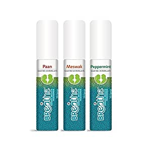 Breathe Mouth Breath Freshener Spray Paan, Meswak & Peppermint- 40 Ml (Pack Of 3)