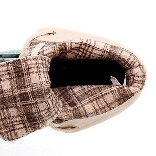 TAOFFEN Damen Klassischer Blockabsatz Schnürung Kurze Stiefel Knoechel Stiefel Rosa