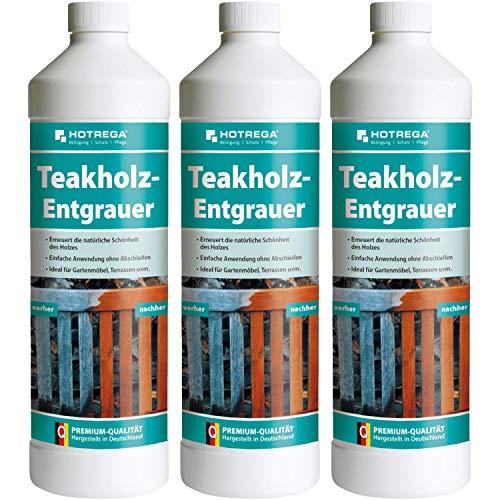 3 x HOTREGA Teakholz-Entgrauer 1000ml Flasche