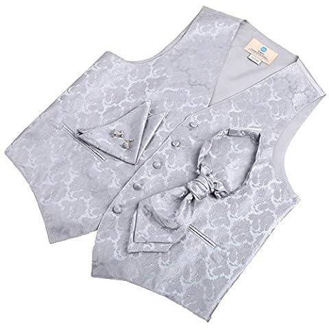 VS2006-M Herren Designer Silber Paisleys Tuxedo Weste Set Match Tuxedo Westen, Manschettenkn?pfe, Taschentuch ??und Ascot Krawatte f¨¹r Anzug Y&G