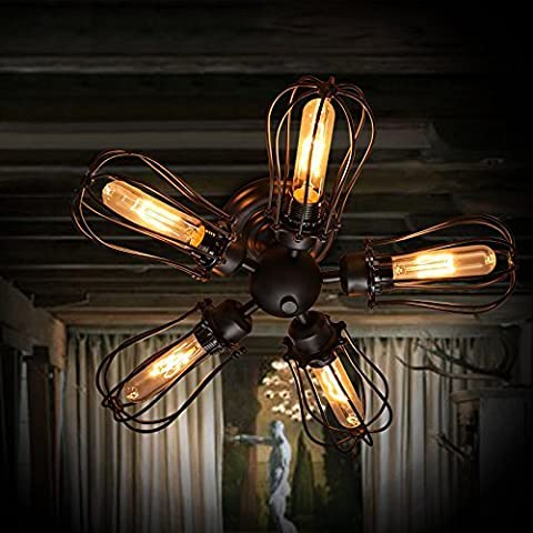 Electro_BP;Vintage Barn Metal Semi Flush Mount Light Max 300W With 5 Lights Black Finish by Electro_BP