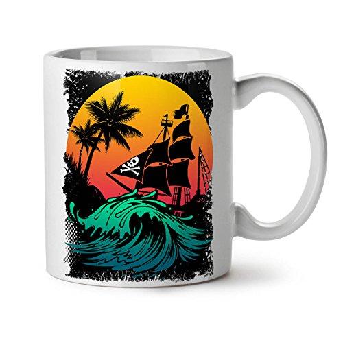 Kampf Kostüm Elf - Wellcoda Pirat Schiff Sturm Keramiktasse, Sonne - 11 oz Tasse - Großer, Easy-Grip-Griff, Zwei-seitiger Druck, Ideal für Kaffee- und Teetrinker