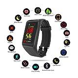 samLIKE Smartwatch Pulsmesser Wasserdicht Bluetooth Fitness Uhr 丨 Schrittzähler 丨 Schlafqualität Rekord 丨 Kalorienzähler 丨 Anruferinnerung 丨 Kompatibel mit Android und iOS 丨 für Herren Damen ( Schwarz)