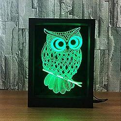 IMFFSE 3D LED Photo Frame, 3D Illusion LED Night Light, Creative Owl 7 Colores Graduales Lámpara Cambiante Mesa Escritorio Deco Lámpara Home Decoraciones del Dormitorio