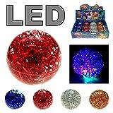 4x LED Flummi Gummiball Glitter Wasser Blinkend Dopsball Groß XL ca.65mm Springball Mitgebsel