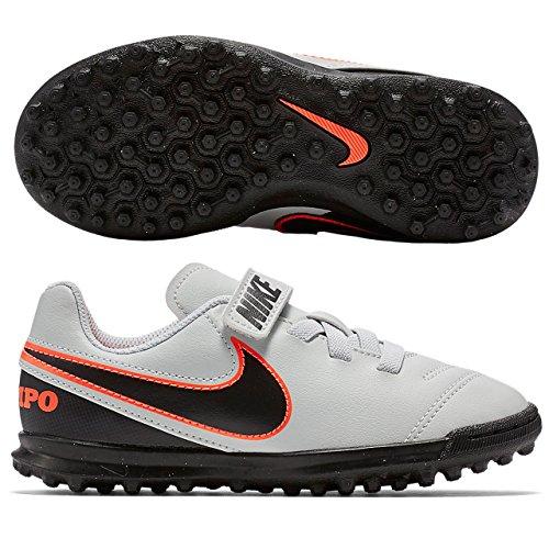 Nike - Jr Tiempo Rio Iii (V) Tf, Scarpe da calcio Unisex – Bimbi 0-24 Multicolore (Plateado / Negro / Naranja (Pure Platinum / Black-Hypr Orng))