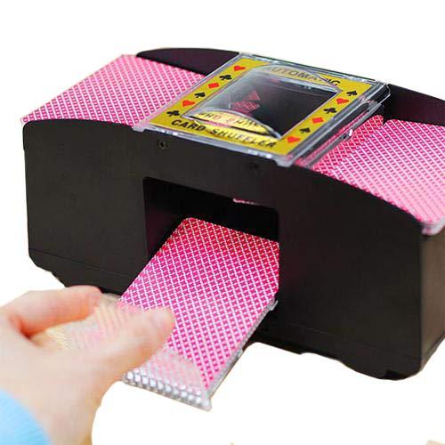 Lifesongs kartenmischer elektrisch, Kartenmischmaschine 2 Decks Elektrische Mischmaschine als Kartenmischgerät batteriebetrieben zum Mischen von Karten beim Pokern,auf Knopfdruck Karten sortieren