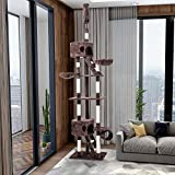 PURLOVE Extra Large Cat Tree Ceiling High Multi-level Adjustable Cat Tree Kitten toys tree Cat Furniture Cat Play House (Brown, Type)