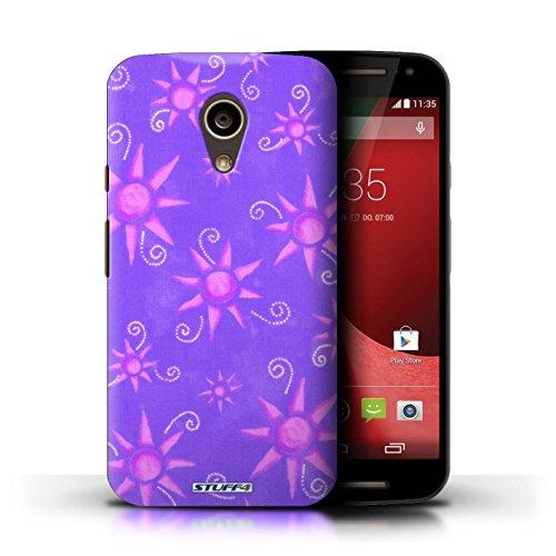 Kobalt® Imprimé Etui / Coque pour Motorola Moto G (2014) / Vert/Blanc conception / Série Motif Soleil Violet/Rose
