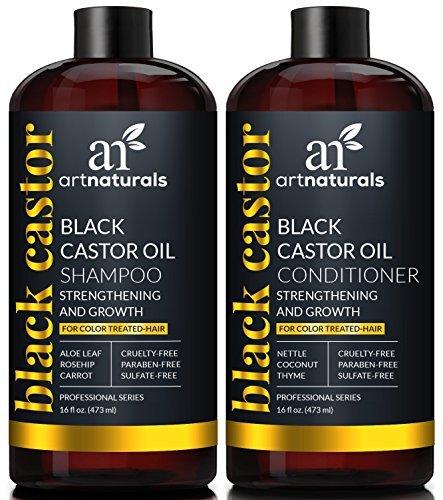 ArtNaturals Black Castor-Oil Shampoo und Conditioner - (2 x 16 Fl Oz) - Stärken, Wachsen und Wiederherstellen - Jamaican Castor - Für coloriertes Haar - Schwarze Samen Rosmarin