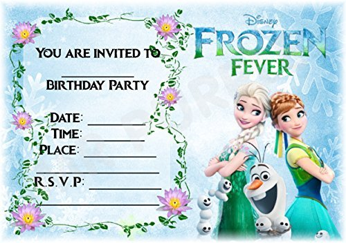Disney Frozen Geburtstag Party lädt - Frozen Fever Blau Design - Party Supplies/Zubehör (12 Stück A5 Einladungen) WITH Envelopes