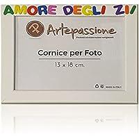 Cornici per foto in legno con la scritta Amore Degli Zii, da appoggiare o appendere, misura 13x18 cm Bianca. Ideale per regalo e ricordo.