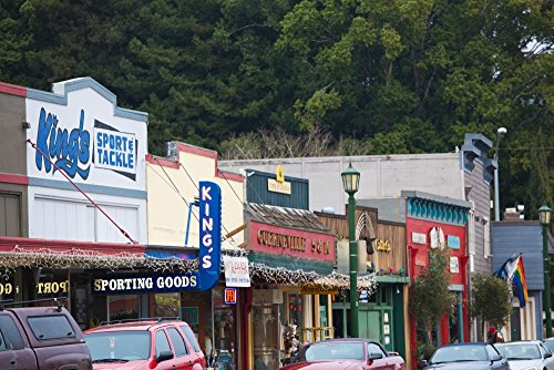 The Poster Corp Panoramic Images - Cars Parked Outside Stores in a City Guerneville Russian River Valley Sonoma County California USA Photo Print (68,58 x 22,86 cm)