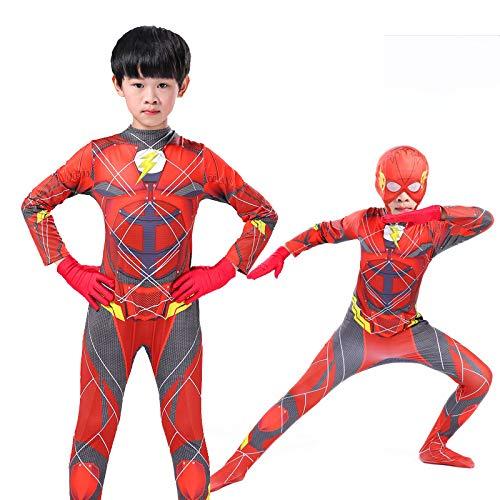 POIUYT Kinder Flash Skinny Halloween Siamese Set Cosplay Anime Film Maskerade Spiderman Superman Parallel Universum Kostüm Body,Red-140cm (Für Superman Kinder Halloween-kostüme)