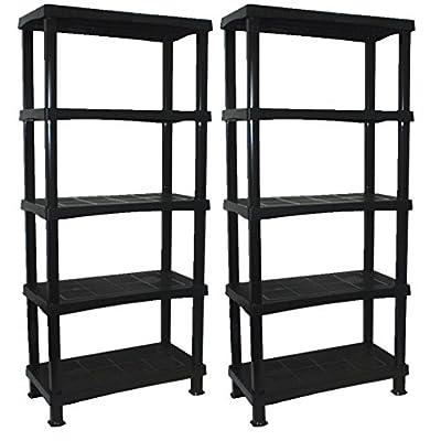 2 x CrazyGadget® Storage Shelving Shelves Unit 5 Tier Racking Plastic for Home Living Room Garage - Extra Large (BLACK) - MADE IN UK - inexpensive UK light shop.