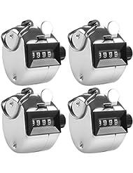 4 Contador Manual de 4 digitos, AFUNTA 4 Pack Metálico Mecanismo Digit Hand Tally Counters Tracker Manual Clicker con Metal Dedo Anillo Hoop Holder -Plata