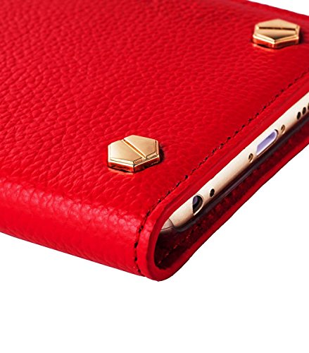 Melkco Premium Cow Leather Hex-shine Series Case Book Style für Apple iPhone 6 14 cm (5,5 Zoll) traditional vintage braun Rot LC 2