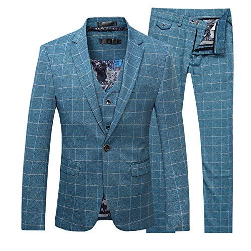 Allthemen Herren 3 Teilig Slim Fit Karierte Anzug Vintage Sakko Himmelblau XX-Large