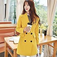 xuanku en la de manga larga vestido abrigo fina lana Woolen Coat, color amarillo, tamaño large