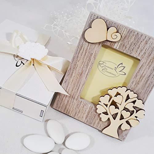 Sindy bomboniere bomboniera battesimo comunione cresima nascita cornice portafoto in legno della vita farfalla (completa di materiale per confezionarla)