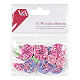 V&A Papercraft Collection Wooden Buttons, Wood, Multi-Colour, 10 x 14 x 3 cm